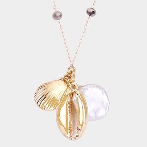 Jewelry - Pearl Metal Puka Shell Bead Necklace